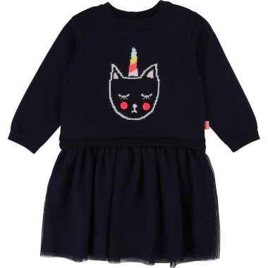 Dual-material dress with motif BILLIEBLUSH for GIRL