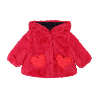 Fur coat with heart pockets  for