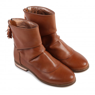 Leather boots with pompom CARREMENT BEAU for GIRL