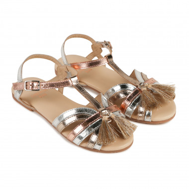 Tri-coloured leather sandals CARREMENT BEAU for GIRL