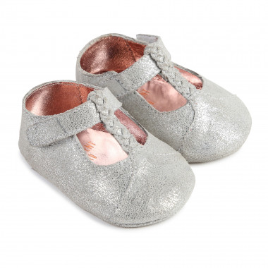 Metallic leather T-strap shoes CARREMENT BEAU for GIRL