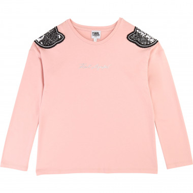 Long-sleeved sequined T-shirt KARL LAGERFELD KIDS for GIRL