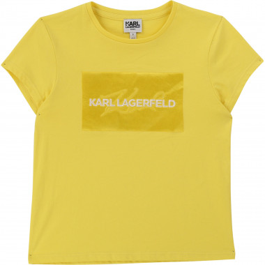T-shirt with embroidered satin KARL LAGERFELD KIDS for GIRL