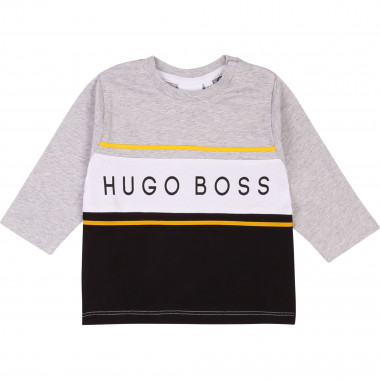 Camiseta algodón color block BOSS para NIÑO