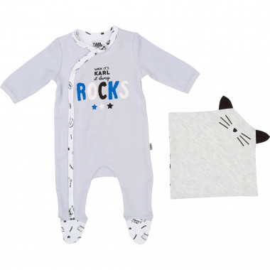 Pijama y mantita de interlock KARL LARGERFELD KIDS para NIÑO