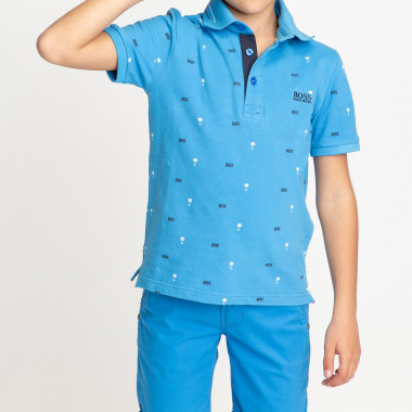 Cotton piqué printed polo BOSS for BOY