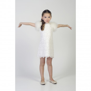 Dress with feathered sleeves CHARABIA for GIRL