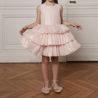 Gold tulle frilled dress CHARABIA for GIRL