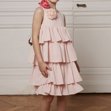 Frilled crepe dress CHARABIA for GIRL