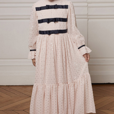 Long dotted Swiss dress CHARABIA for GIRL