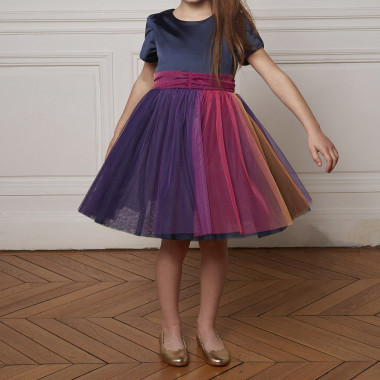 Dual-fabric tulip sleeve dress CHARABIA for GIRL