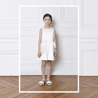 Satin dress with feathers CHARABIA for GIRL