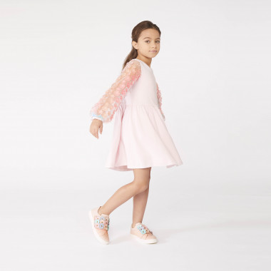 Tulle-sleeve cotton dress CHARABIA for GIRL