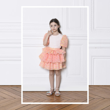 T-shirt with tulle sleeves CHARABIA for GIRL