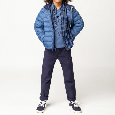 Dual-material 100% cotton shirt TIMBERLAND for BOY