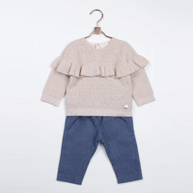 Cotton and wool ruffle jumper CARREMENT BEAU for GIRL