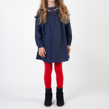 Flannel dress with frills CARREMENT BEAU for GIRL