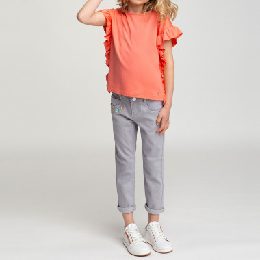 Denim trousers with embroidery CARREMENT BEAU for GIRL