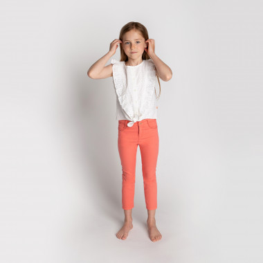 Embroidered drill trousers CARREMENT BEAU for GIRL