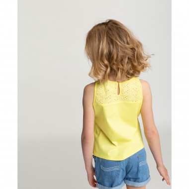 Buttoned dual-fabric vest top CARREMENT BEAU for GIRL
