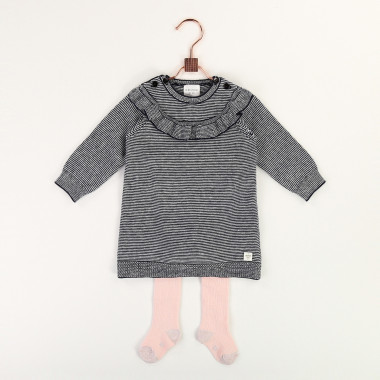 Striped cotton and wool dress CARREMENT BEAU for GIRL