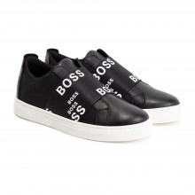 Elasticated leather trainers