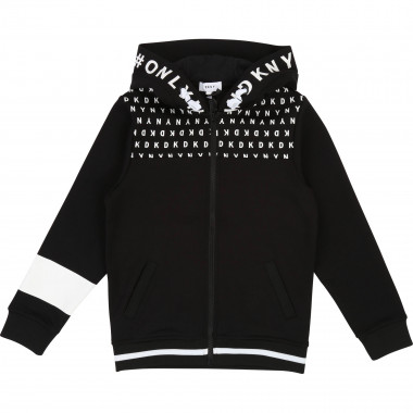 Zipped cardigan with logo hood DKNY for BOY