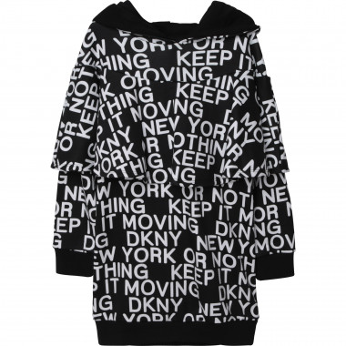 Hooded dress with logo DKNY for GIRL