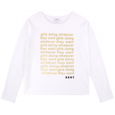 Flocked cotton jersey T-shirt DKNY for GIRL
