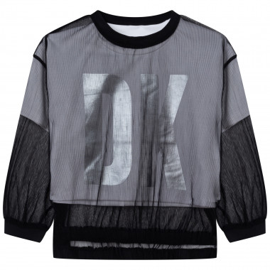2-in-1 blouse with silver logo DKNY for GIRL
