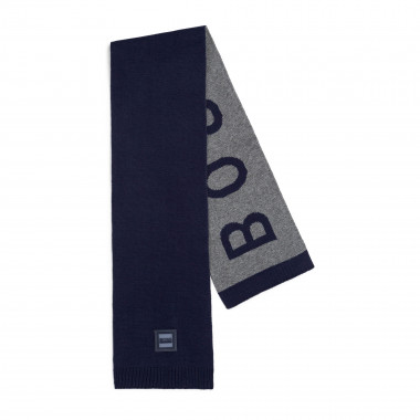 Two-tone knitted cotton scarf BOSS for BOY