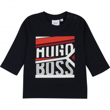 Cotton T-shirt with motif BOSS for BOY