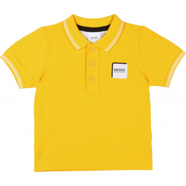 Cotton polo with badge BOSS for BOY