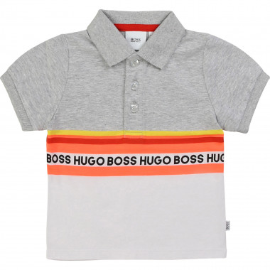 Polo shirt with neon stripes BOSS for BOY