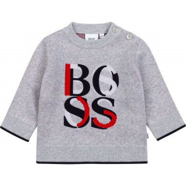Cotton jumper with jacquard BOSS for BOY
