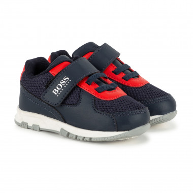 Faux leather and mesh trainers BOSS for BOY