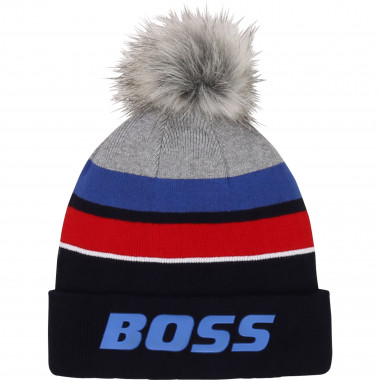 Striped cotton pom-pom hat BOSS for BOY