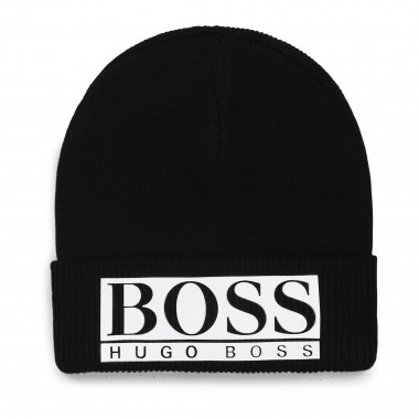Knitted hat with turn-up BOSS for BOY