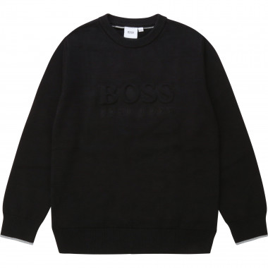 Knit jumper with embossed logo BOSS for BOY