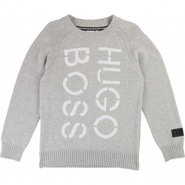 Knit jumper with jacquard logo BOSS for BOY