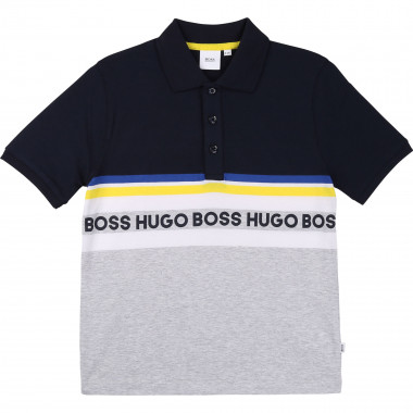 Striped cotton jersey polo BOSS for BOY