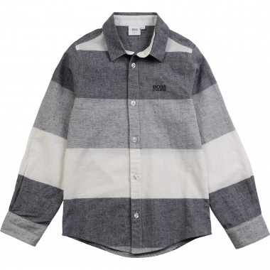 Striped linen and cotton shirt BOSS for BOY