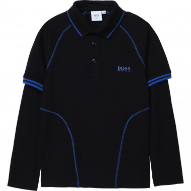 Slim fit polo with cutouts BOSS for BOY