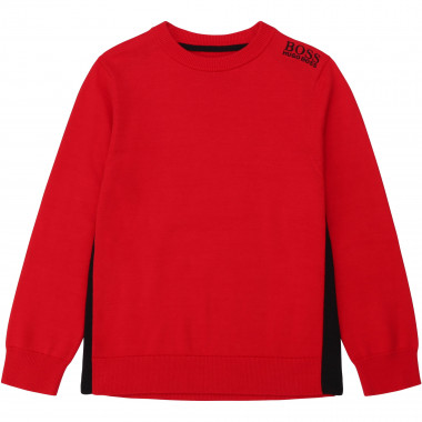 Two-tone brushed cotton jumper BOSS for BOY