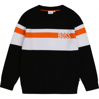 Striped wool and cotton jumper BOSS for BOY