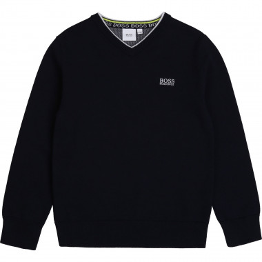 Brushed cotton V-neck jumper BOSS for BOY