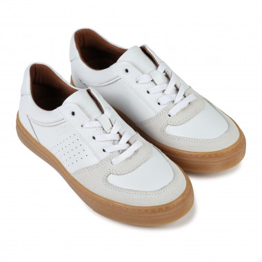 Low-top laced leather trainers BOSS for BOY