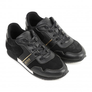 Low-top mixed leather trainers BOSS for BOY