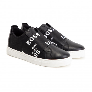 Elasticated leather trainers BOSS for BOY