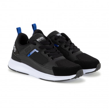 Multi-material laced trainers BOSS for BOY